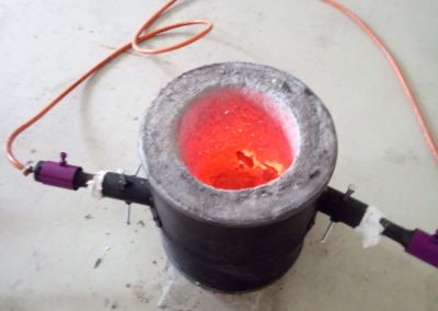 Hot furnace after melting bronze